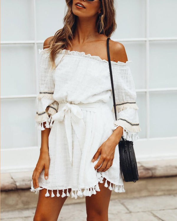 Bang Bang Belted Tassel Boho Dress - White | Flirtyfull.com