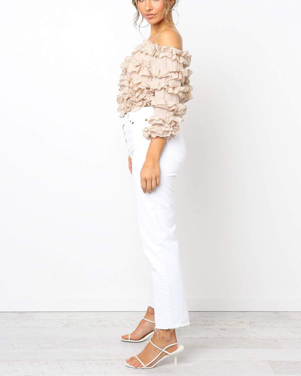 Barbara Off the Shoulder Ruffle Top - Nude | Flirtyfull.com