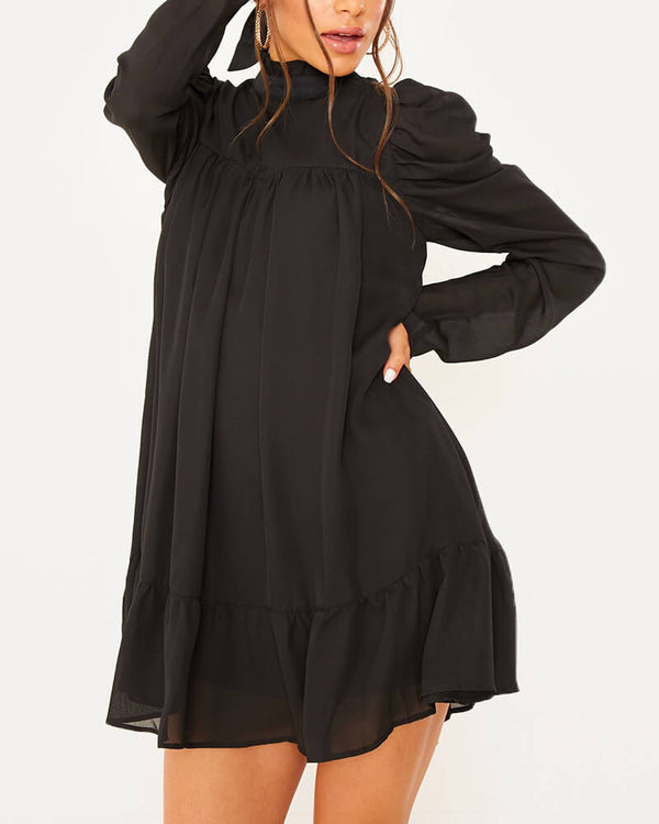 Chelsea Elegant Drapped Vintage Dress - Black | Flirtyfull.com