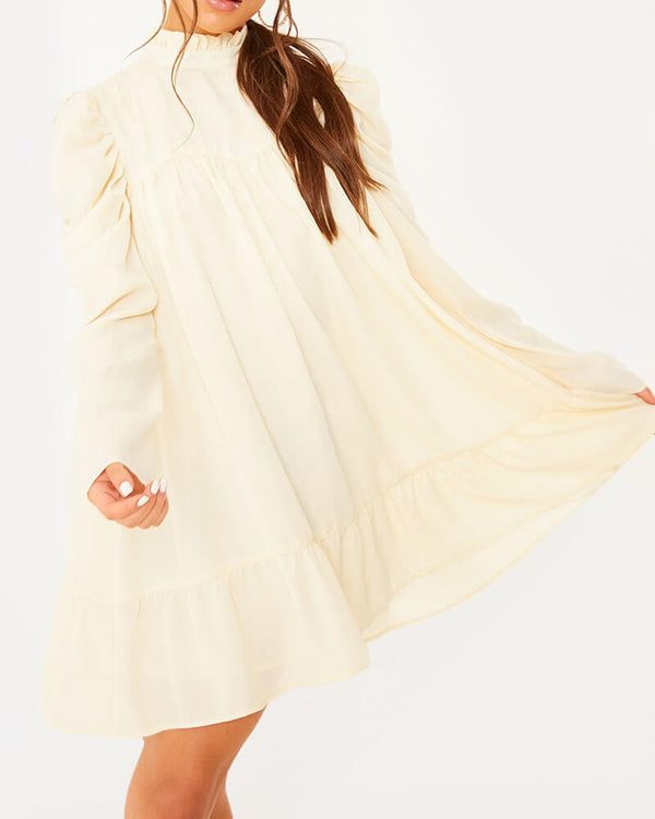 Chelsea Elegant Drapped Vintage Dress - Cream | Flirtyfull.com
