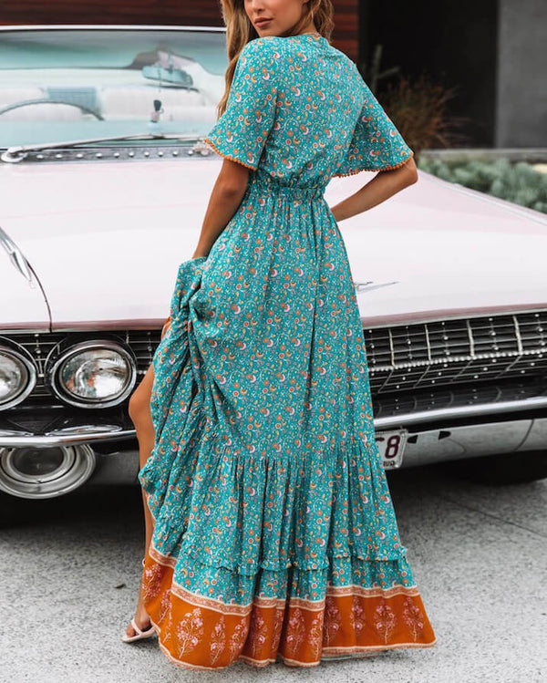 Clarity Boho Maxi Dress - Turquoise/Orange | Flirtyfull.com