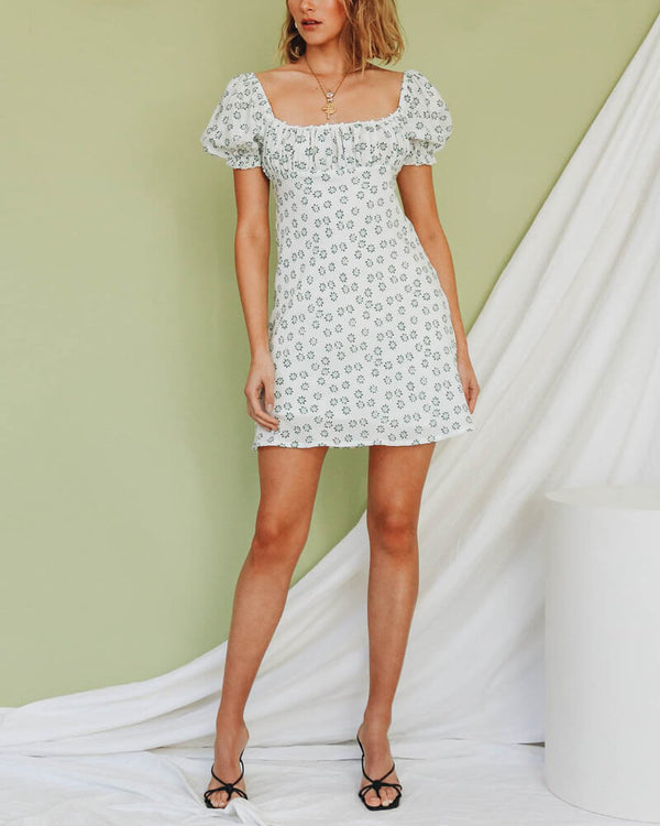 Clementine Puff Sleeve Retro Dress - White | Flirtyfull.com