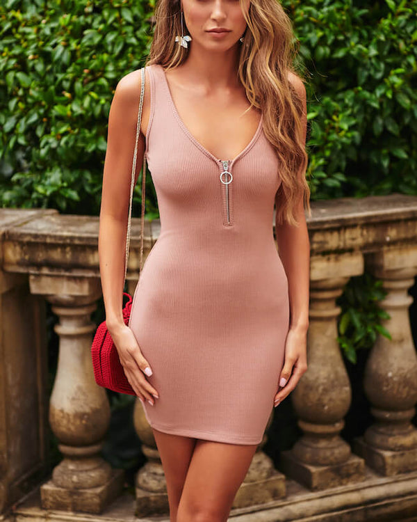 Clinton Bodycon Mini Dress - Blush Pink | Flirtyfull.com