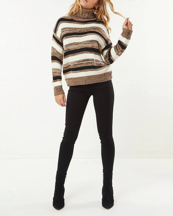 Come to Me Turtleneck Striped Sweater | Flirtyfull.com