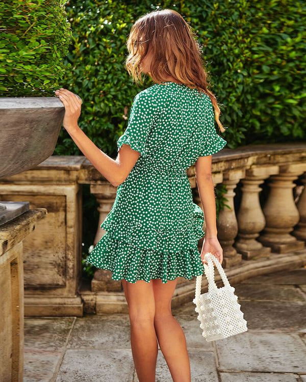 Coraline Ruffle Polka Dot Dress - Green | Flirtyfull.com