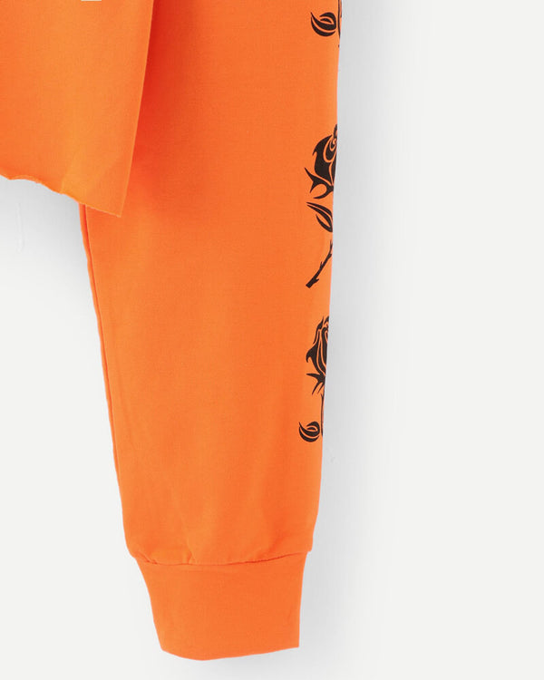 Cute but callous Crop Sweatshirt - Orange | Flirtyfull.com