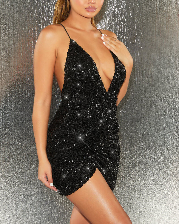 Darcey Sequin Bodycon Elegant Dress - Black | Flirtyfull.com
