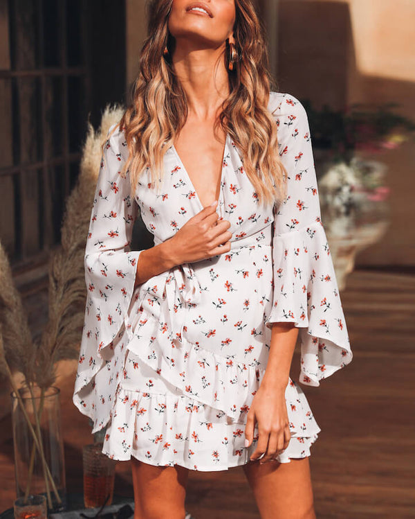 Delicate Flare Sleeve Floral Dress - White | Flirtyfull.com