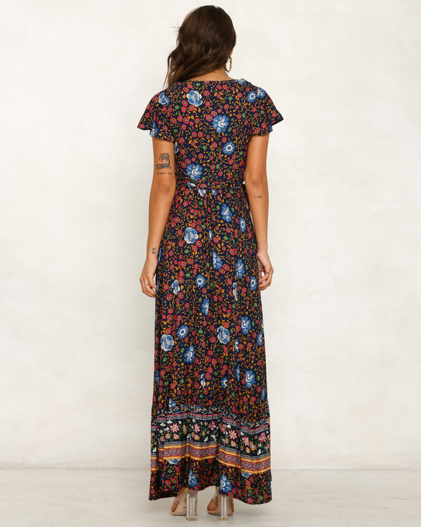 Denise Boho Maxi Dress - Navy | Flirtyfull.com
