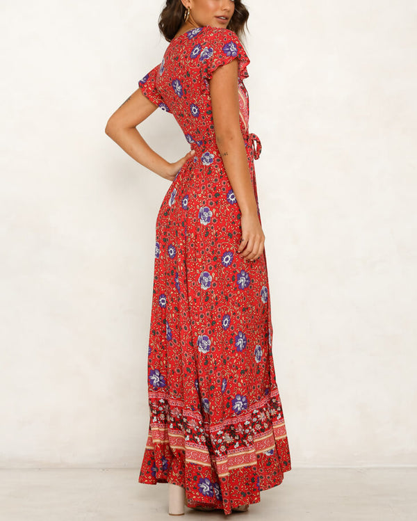 Denise Boho Maxi Dress - Red | Flirtyfull.com
