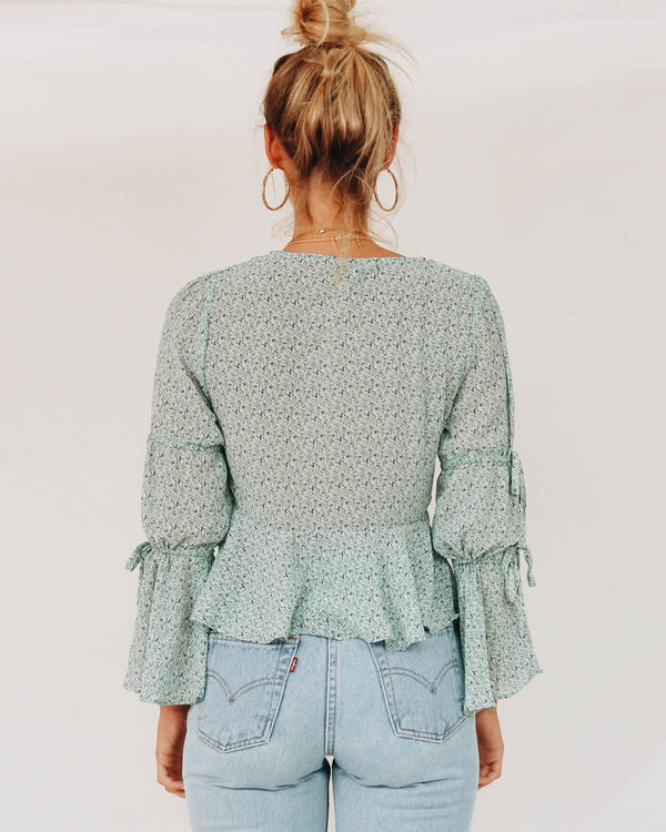 Denver Drawstring Flare Sleeve Chiffon Top - Green | Flirtyfull.com
