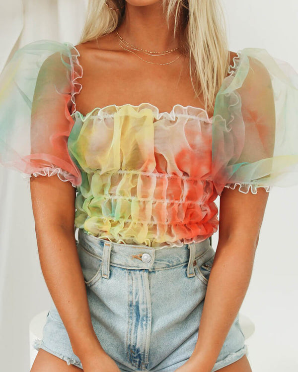 Don't You Worry Child Rainbow Sheer Top | Flirtyfull.com