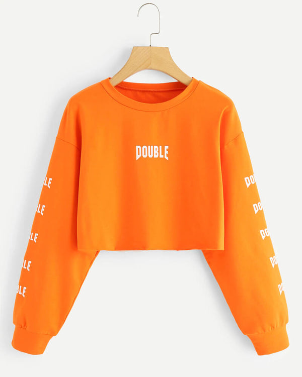Double Graphic Crop Sweatshirt - Orange | Flirtyfull.com