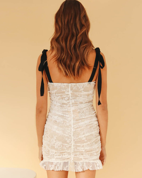 Estelle Pleated Lace Bodycon Dress | Flirtyfull.com