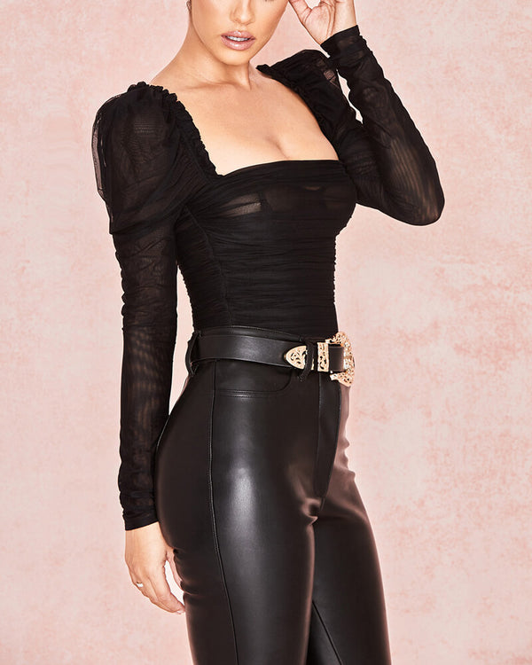 Eugene Sheer Mesh Bodycon Bodysuit - Black | Flirtyfull.com