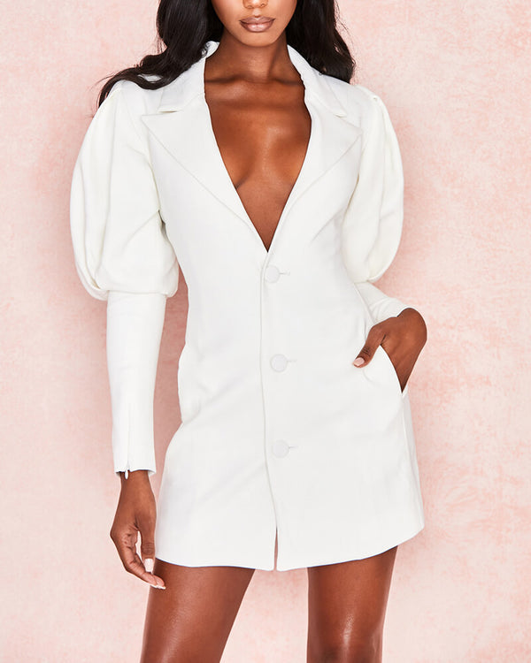 Fast Car Elegant Blazer Dress - White | Flirtyfull.com