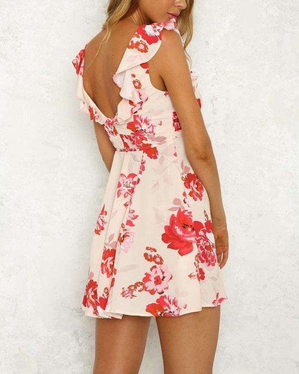 Beverly Floral Boho Mini Dress - Red | Flirtyfull.com