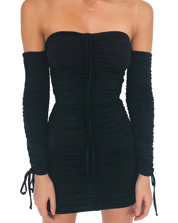 Broke & Famous Ruched Sexy Dress - Black | Flirtyfull.com
