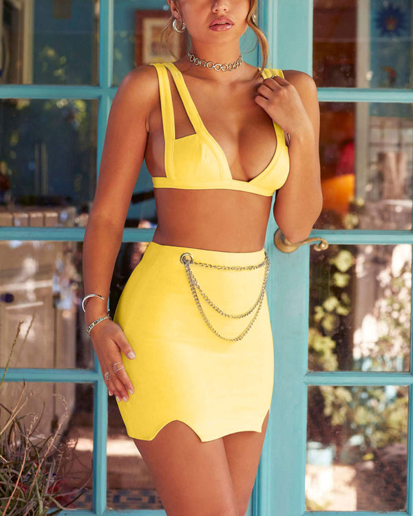Make a Memory Two Pieces Set - Yellow | Flirtyfull.com