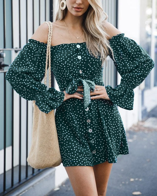 Sunset Lover Polka Dot Off the Shoulder Dress - Green | Flirtyfull.com