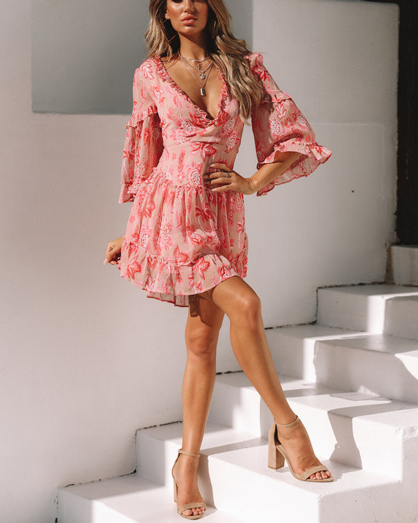 All Rise Floral Lace Up Back Bohemian Mini Dress - Pink | Flirtyfull.com