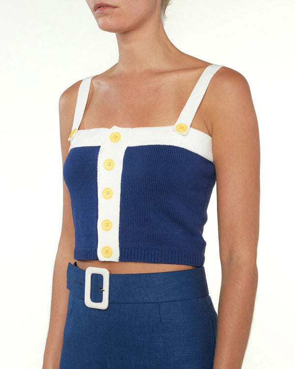 Anchorless Knitted Tank Top - Navy & White | Flirtyfull.com