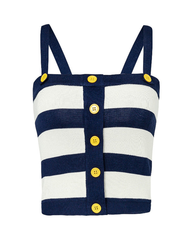 Anchorless Striped Knitted Tank Top - Navy & White | Flirtyfull.com