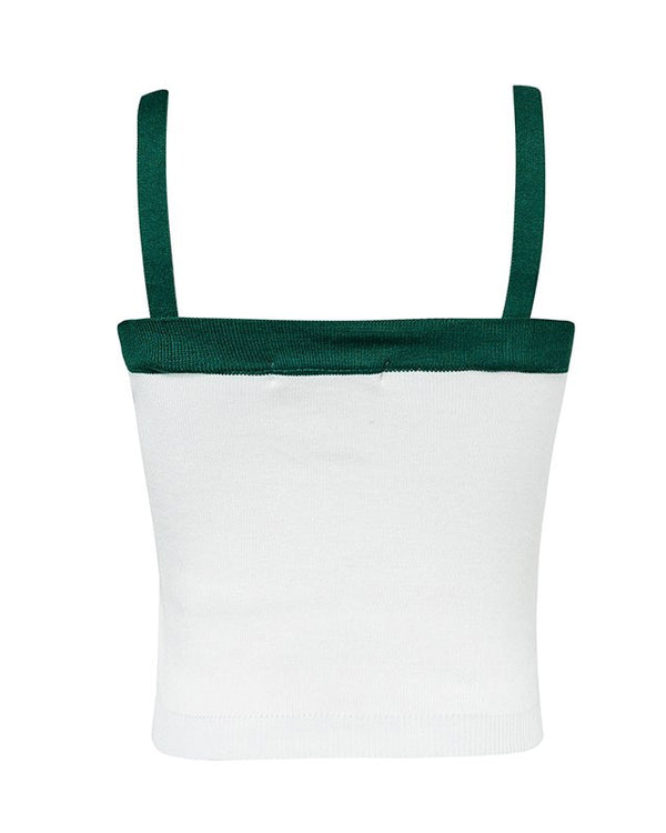 Anchorless Knitted Tank Top - White & Green | Flirtyfull.com