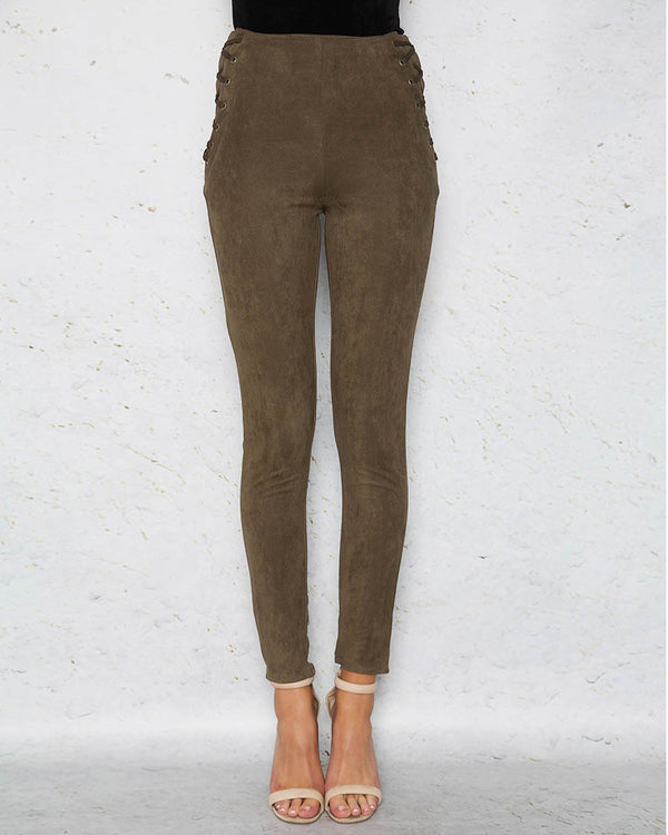 Anderson High Waisted Suede Lace Up Skinny Pants - Army Green | Flirtyfull.com