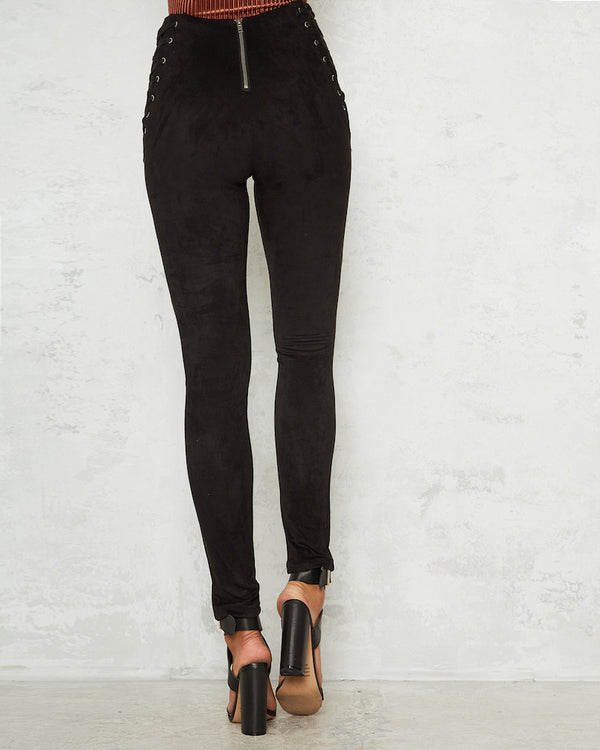 Anderson High Waisted Suede Lace Up Skinny Pants - Black | Flirtyfull.com