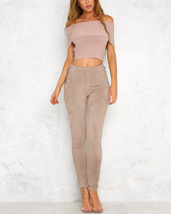 Anderson High Waisted Suede Lace Up Skinny Pants - Pink | Flirtyfull.com