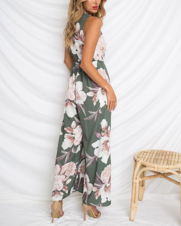 Apollo Boho Sleeveless Floral Jumpsuit | Flirtyfull.com