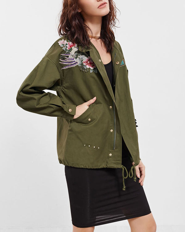 Arabella Floral Embroidery Jacket - Army Green | Flirtyfull.com