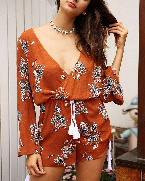 Arabia V-Neck Long Sleeve Playsuit - Orange | Flirtyfull.com