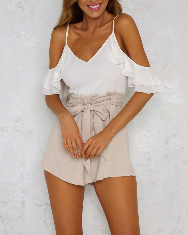 Atomic Cold Shoulder Playsuit - Beige | Flirtyfull.com