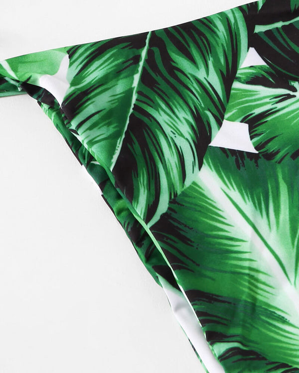 Aurora Tropical Two Pieces Bikini Set - Green | Flirtyfull.com