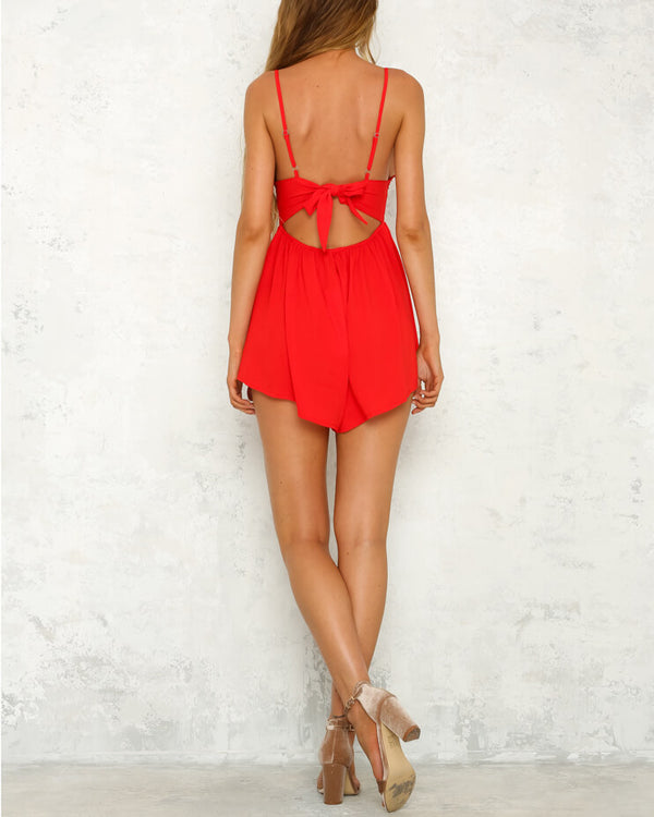Ava Chiffon Backless V-Neck Playsuit - Red | Flirtyfull.com