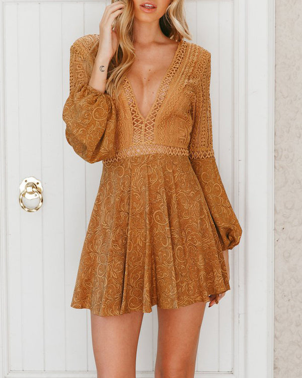 Baby One More Time Sexy Lace Up Dress - Mustard | Flirtyfull.com