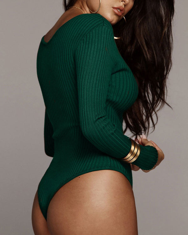 Back for More Knitted Long Sleeve Bodysuit - Green | Flirtyfull.com