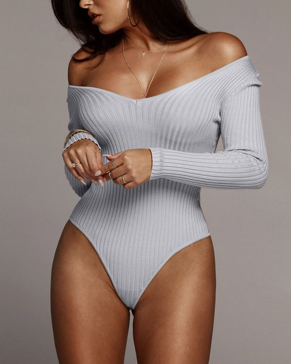 Back for More Knitted Long Sleeve Bodysuit - Grey | Flirtyfull.com