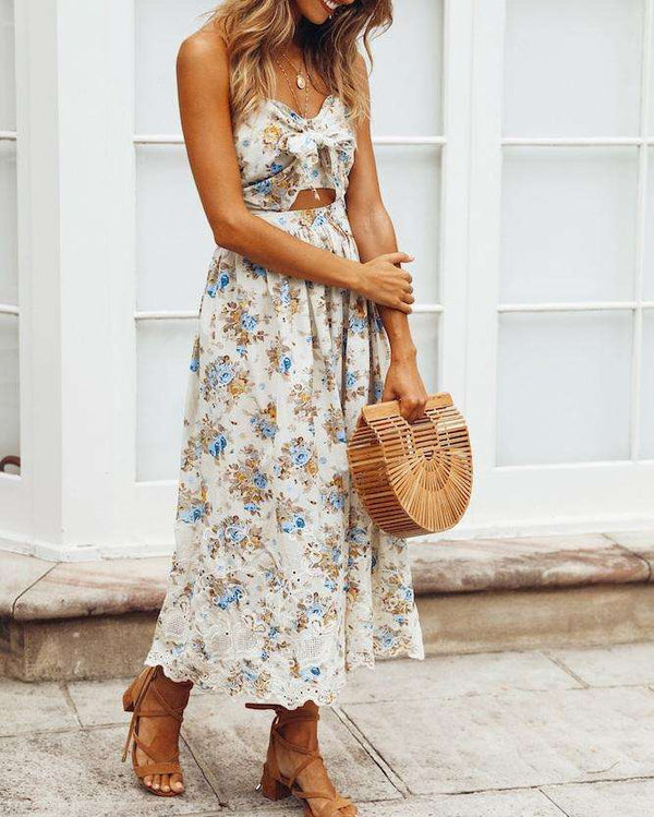Bali Floral Summer Beach Dress - White | Flirtyfull.com