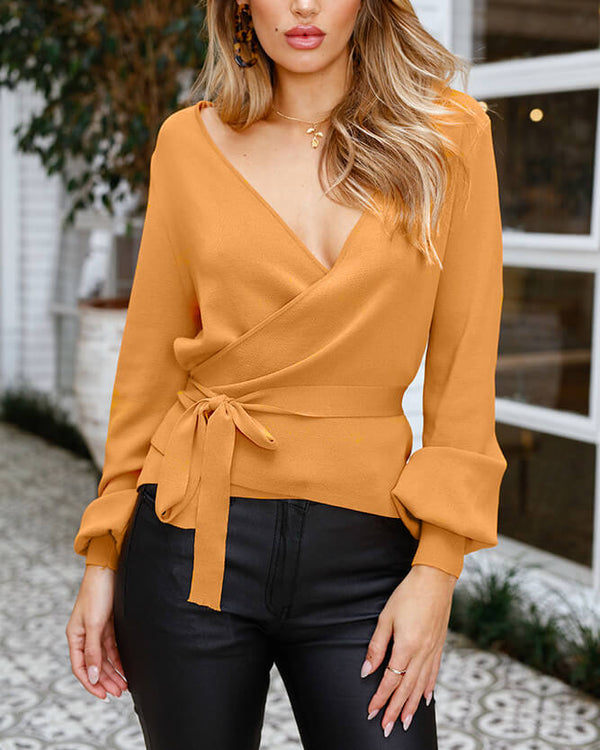 Balvin Knitted V Neck Sweater Top - Mustard | Flirtyfull.com
