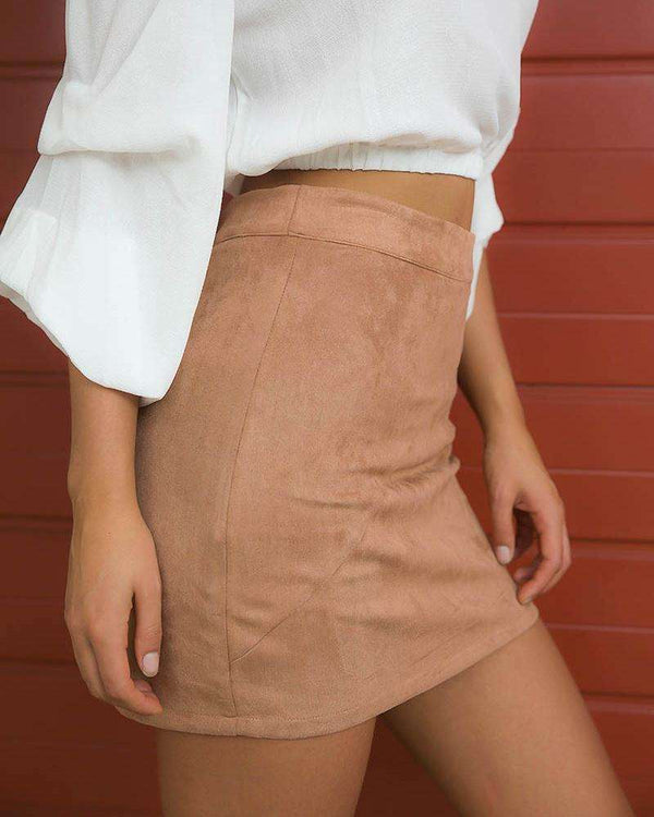 Barbie Suede High Waisted Skirt - Camel | Flirtyfull.com