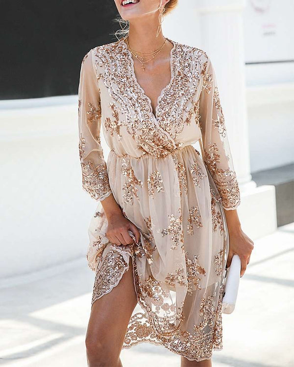 Be Bold Midi Sequined Dress - Beige | Flirtyfull.com
