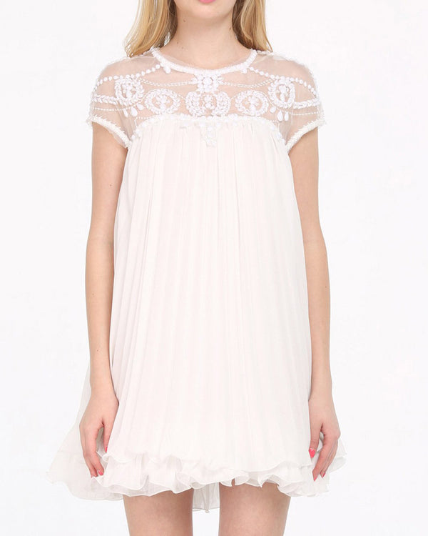 Bed of Roses Beaded Chiffon Elegant Dress - White | Flirtyfull.com