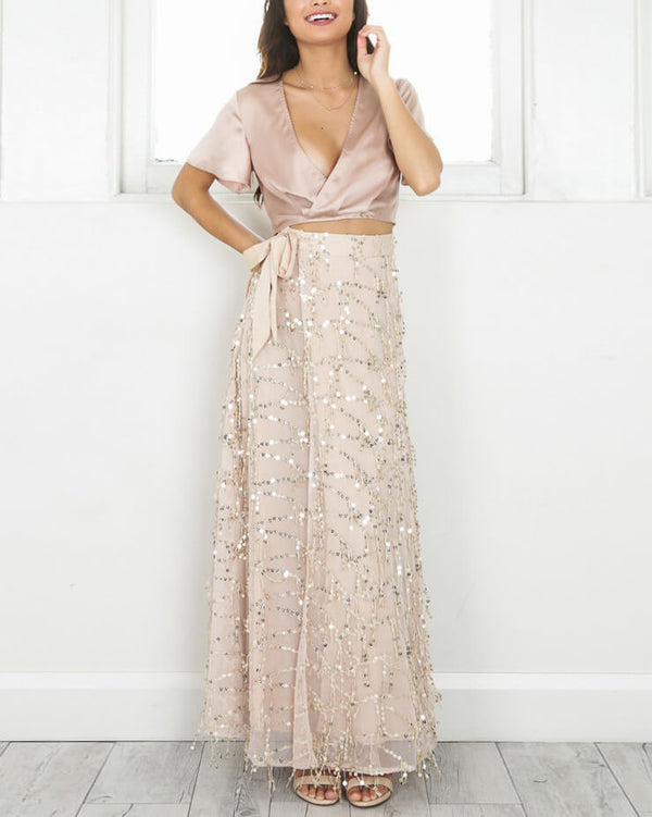 Bellagio Sexy Sequined Maxi Skirt - Gold | Flirtyfull.com