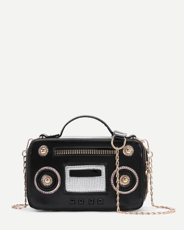 Flirtyfull Black Radio Shape Novelty Bag