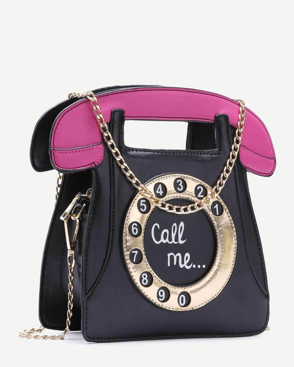 Telephone Shape Handbag With Chain Novelty Bag - Black | Flirtyfull.com