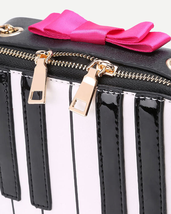 Flirtyfull Black & White Piano Novelty Bag