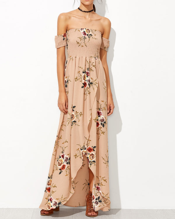 Bliss Bohemian Off the Shoulder Dress - Dark Nude | Flirtyfull.com